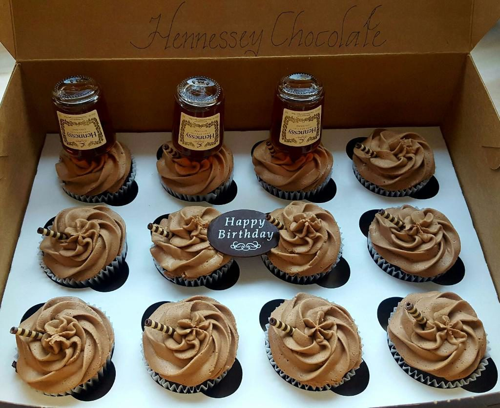 Wasted Desserts Hennessy Cupcakes with Hennessy Bottles
