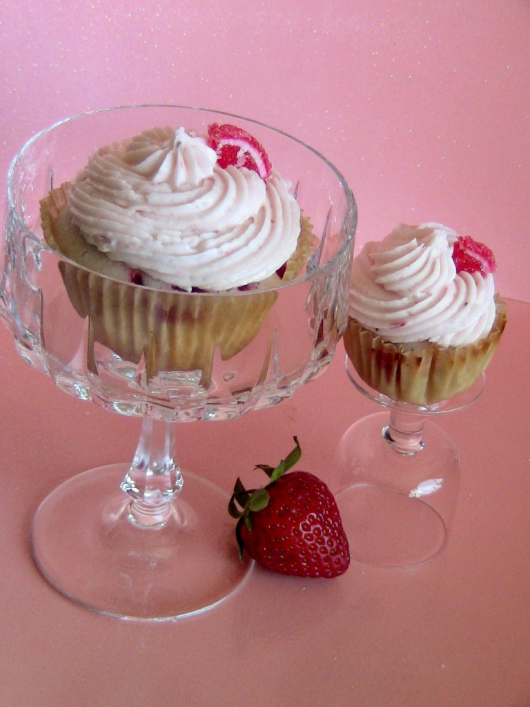 Strawberry Cupcakes made with Champagne by Wasted Desserts