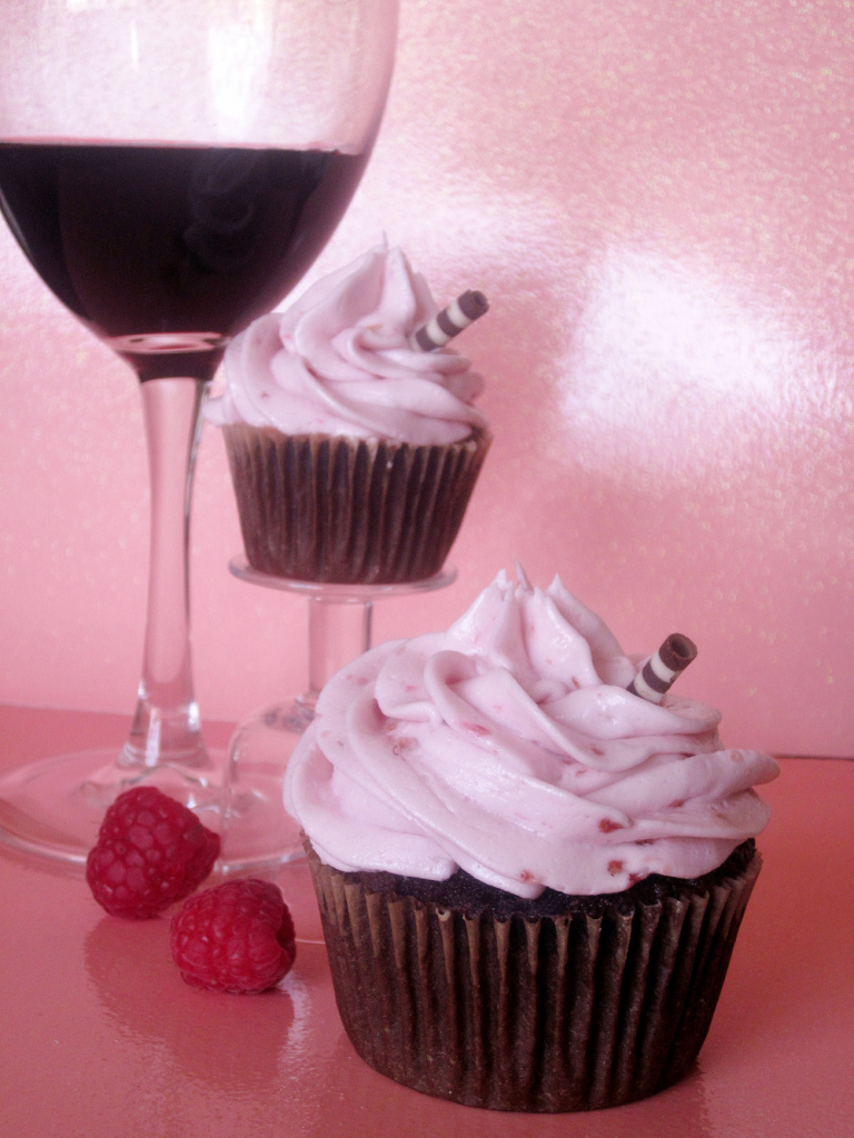Red Wine Raspberry Chocolate Alcoholic Cupcakes by Wasted Desserts