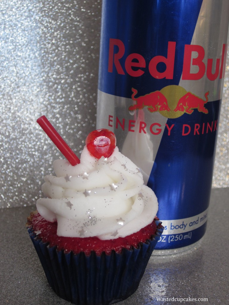 Red Bull Vodka Alcoholic cupcakes by Wasted Desserts