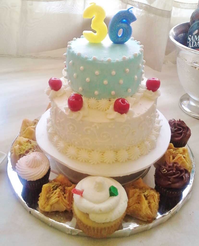 Pina Colada Cake, tiered with assorted alcoholic desserts